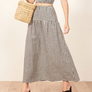 Reformation Gingham Maxi Skirt